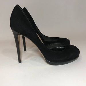 REED KRAKOFF D'Orsay Black Suede Leather Pumps